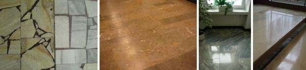 Foto: Fortel CB, renoavce dlažby (před a po), další 2 snímky renovace mramorových povrchů