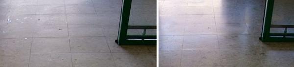 Foto: Fortel CB, dlažba před a po čištění