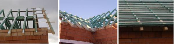 Foto: ČESKÉSTAVBY.cz, konstrukce krovu a olaťovaný krov s položenou fólií pod latěmi