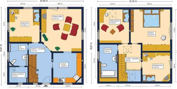 Foto: www.uspornedomy.cz, RD Nova 86 - půdorysy přízemí a prvního poschodí