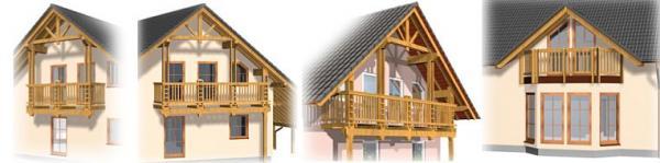 Foto: www.uspornedomy.cz, RD Nova 86 - varianty balkónů (úzký, střední, široký a atrium s balkónem)