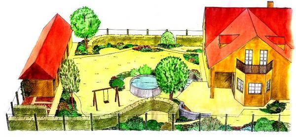 Volně zvlněné křivky živého plotu, chodníčků a zídek probíhají celou zahradou.