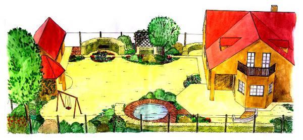 Formálnosti a přísnosti zahrady je docíleno použitím přesného tvaru kruhu a jeho výřezů.