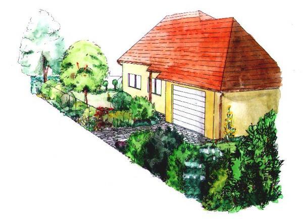 Ovocné stromy a trvalky před domem navozují styl  venkovské předzahrádky.