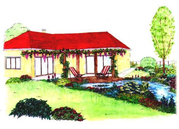 Posezení na terase zpříjemní pohled na jezírko strvalkami, plocha trávníku a kulisa dřevin.