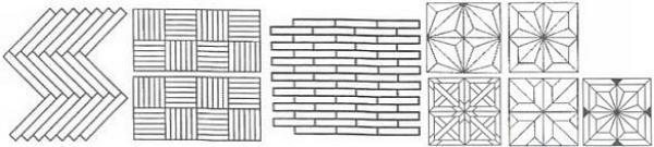 Obr: PODLAHY Sikora, vzory parket: rybinový, tabulový, anglický a parkety zámecké