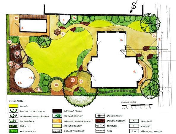 Půdorys zahrady - moderní a zvlněná.