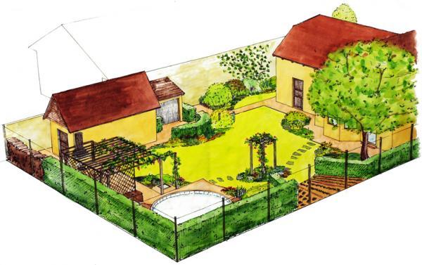 Prostor zahrady je výrazně členěn živými ploty a pergolami.
