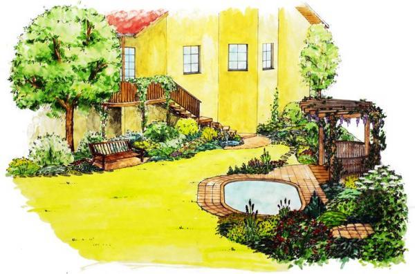 Dominantou obytné části zahrady je bazén a schodiště vedoucí kobytným místnostem v patře.
