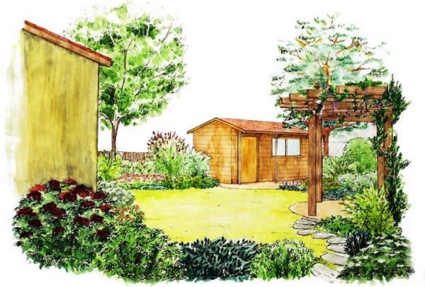 Do zadní výše položené části je umístěn zahradní domek a také půlkruhové odpočívadlo spergolou.