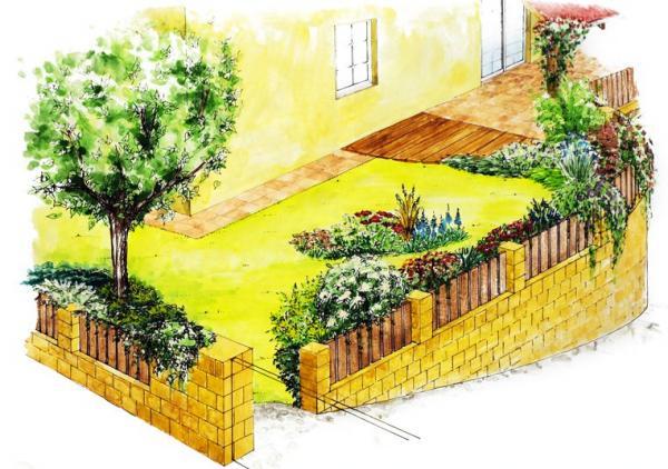 Předzahrádka vytváří soukromí pro posezení na terase u obýváku a zároveň zaujme kolemjdoucí.