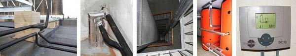 Foto: ZITO, rozvody teplé vody ze střechy až k zásobníkům + regulace