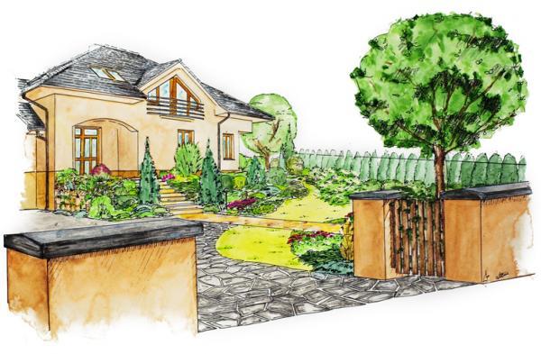 Pohled přes vjezd na vstup do domu lemované výsadbou keřů, trvalek a vřesovištních rostlin.