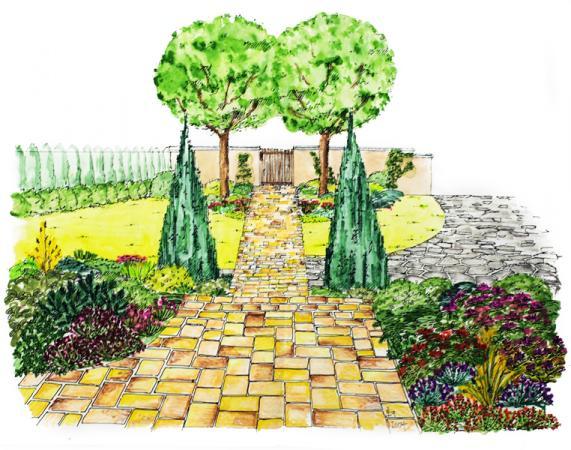 Přístupová cestička kdomu je zdůrazněná opakováním dvojic dřevin spravidelným geometr. tvarem.
