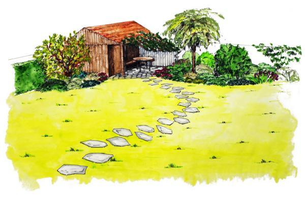 Zahradní domek s posezením pod pergolou je doplněný zajímavou výsadbou převážně listnáčů.