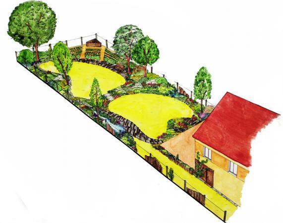 Dvě samostatné terasy jsou odděleny skalkou a doplněny zajímavým chodníkem.