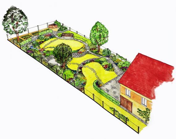 Spolu sužitkovou částí vytváří toto řešení čtyři terasy propojené chodníkem i šlapáky.