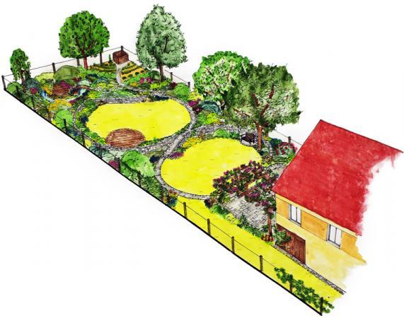 Dominantní kruhový motiv na okrajích teras, vtvarování dřevěných podest  i výsadbě užitkové části.
