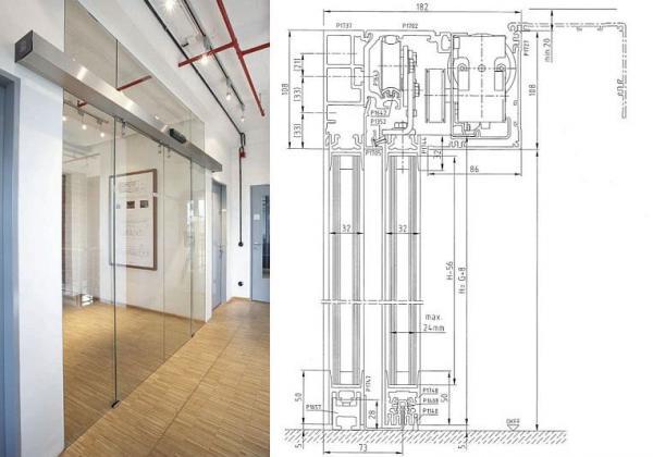 Automatické dveře STA 20 v bezrámovém, celoskleněném provedení a svislý řez jimi