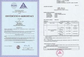 Obr: VÁHY-JAS, Osvědčení o akreditaci a příloha