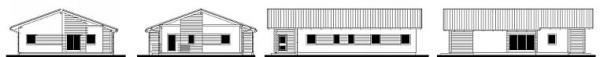 Obr: RD RÝMAŘOV, Largo 147- pohled pravý, levý, přední a zadní