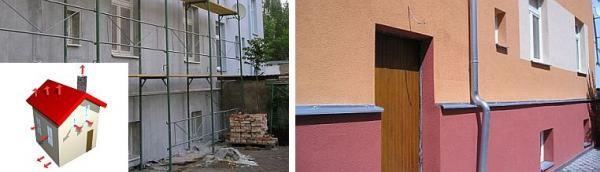 Foto: ČESKÉSTAVBY.cz, zateplený dům a dům s konečnou úpravou fasády (sokl oddělen barevně)