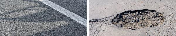 Ilustrační foto (www.shutterstock.com), nová a rozbitá asfaltová silnice