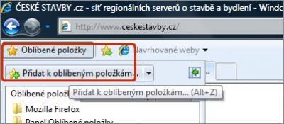 Přidání stránek do oblíbených v prohlížeči Internet Explorer