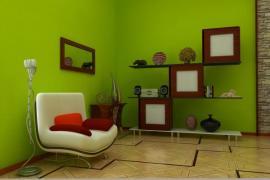 Ilustrační foto (www.shutterstock.com), Hypermoderní design některých bytových doplňků v kombinaci s přírodními prvky - dřevěné parkety, obložení kamenem a hnědé rámy v kombinaci se subtilními regály.