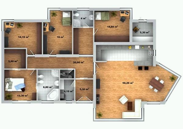 Půdorys typového domu Lucie 8
