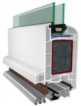 Foto: LD INVEST, řez profilem plastových vchodových dveří, povrch bílý, izolační dvojsklo