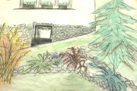 Obr: ČESKÉSTAVBY.cz, hrubý náčrtek detailu realizované zahrady