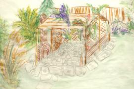 Obr: ČESKÉSTAVBY.cz, hrubý náčrtek detailu realizované zahrady - relaxační zákoutí s pergolou a krbem, majitelé se nakonec rozhodli, že krb stavět nebudou, ale v prostoru zřídí ohniště