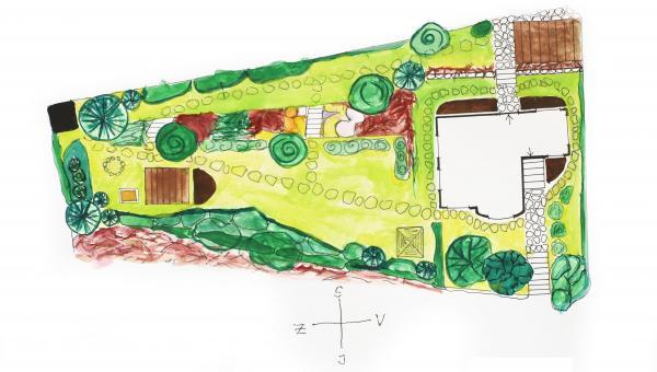 Obr: ČESKÉSTAVBY.cz, návrh realizované zahrady - půdorys, měřítko 1:200