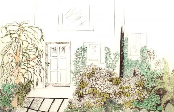 Obr: ČESKÉSTAVBY.cz, návrh detailu realizované zahrady - stinné a vlhké místo před zadními vchodovými dveřmi, návrh skladby rostlin