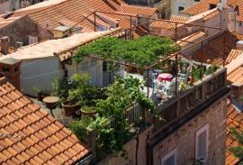 Ilustrační foto (www.shutterstock.com), řešení zelené střechy mobilními nádobami a pergolou