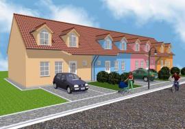 Foto: Domy Tvarožná, studie řadových rodinných domů - pohled z ulice