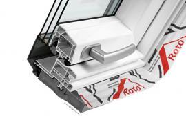 Zateplovací blok Roto izoluje celou výšku rámů střešního okna včetně instalovaného límce parotěsné fólie