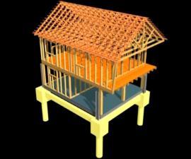 Obr: www.domoja-cz.com, vizualizace - konstrukce dřevostavby