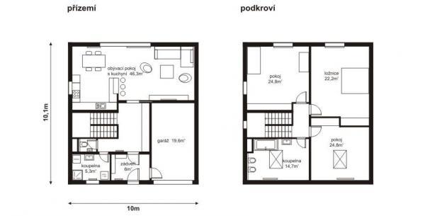 Typový dům Opuncie - půdorys přízemí a podkroví