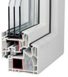 Foto: J&T system, detail a průřez plastového profilu VEKA