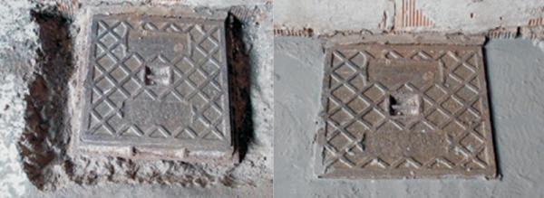 Foto: I-CUT ITALIA, oprava směsi Pavillo - před a po opravě