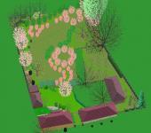 Vizualizace: Ing. Hana Zachariášová, Uspořádání venkovské zahrady