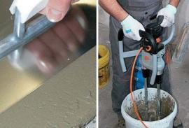 Vyhlazení betonu do potřebné tloušťky. Zásadou pro bezproblémové provedení vyrovnávacích cementových stěrek je dokonalé rozmíchání produktu vždy se správným množstvím záměsové vody.
