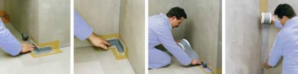 Foto: LB Cemix, vkládání pružné těsnící pásky do první vrstvy Cemix koupelnové hydroizolace