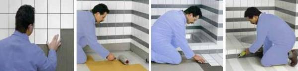 Foto: LB Cemix, hydroizolace podlah se provádí až po nalepení obkladů na stěny, obložení podlahy, utěsnění silikonem