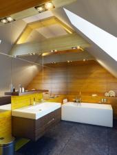Ilustrační foto (www.shutterstock.com), velkorysé osvětlení podkrovní koupelny stropními bodovkami, prosklené plochy zvětšují opticky prostor