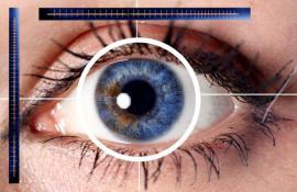 Snímání oční duhovky, ilustrační obrázek