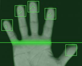 Snímání otisků prstů, ilustrační obrázek