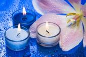 Květinové zátiší se svíčkami